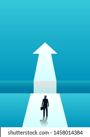 vector illustration of businessman walking towards gap. describe success, opportunity, overcoming, ambition and courage. business concept illustration