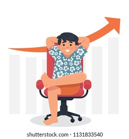 vector illustration businessman wearing  Hawaiian clothes sitting on chair legs crossed and hand behind head, freelancer sitting and relax with business growth behind