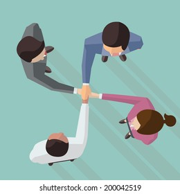 Vector illustration of businessman and woman join hands by touching top of each other, design in flat design with long shadow, view from top view.