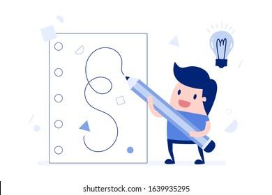 Vector illustration, Businessman writing ideas on paper.