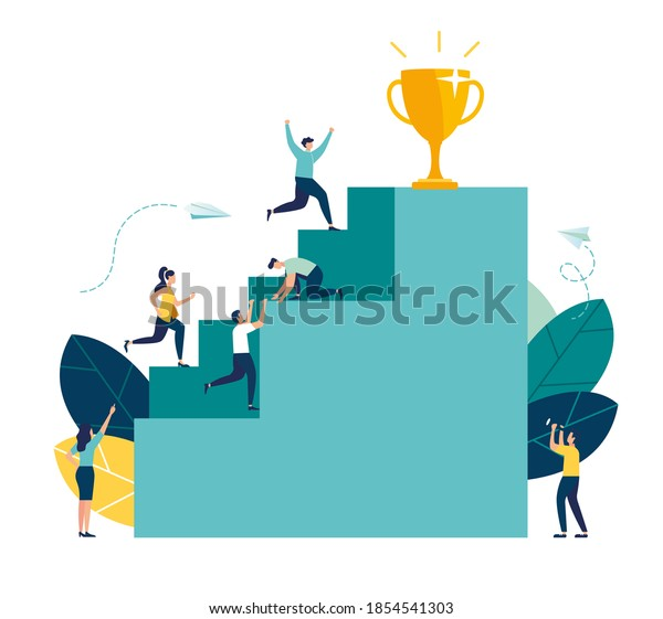 Vector illustration, businessmen climb the ladder to the goal in the form of a golden cup, competition, career planning, career development concept, teamwork