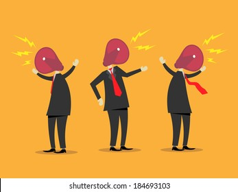 A vector illustration of businessmen with hailers replacing their heads