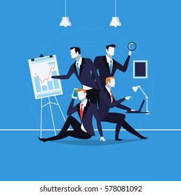 Vector illustration of businessmen silhouettes in different kinds of situations. Presentation, mobile conversation, work on laptop. Business people, office life concept design element in flat style