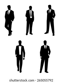 Vector illustration of a  businessmen silhouettes set