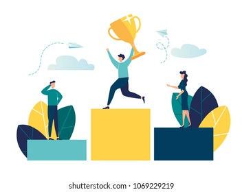 vector illustration. businessmen stand on the podium in the first, second and third place. the winner gets the prize for the best result