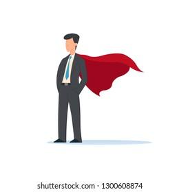 Vector illustration of businessmen super hero character, office worker man Superhero