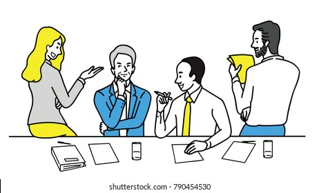 Vector illustration of businesspeople, man and woman, talking, sharing idea, finding solution, solving problem, discussion. Multi-ethnic, diverse, various pose. Linear thin line art style.