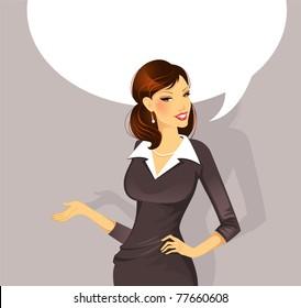 Vector illustration of Businesswoman speaking