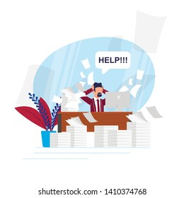 Vector Illustration Busy Rhythm Life Cartoon Flat. Man Asks for Help Unloading Work Tasks. Lack Time and Poor Distribution Forces Leads to Non-productive Work. Person Experiencing Anxiety.