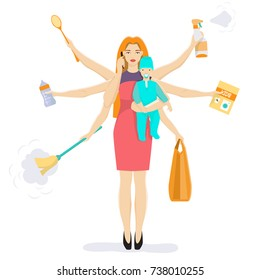 Vector illustration of busy woman with baby. Super mom cleaning, shopping, reading book, preparing formula for baby, playing tennis and talking on the mobile phone at the same time. Flat style design.