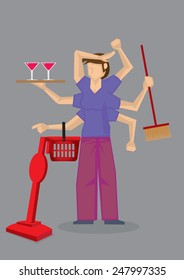 Vector illustration of a busy woman with many arms doing different house chores at the same time.
