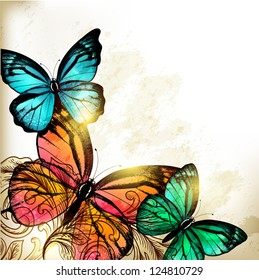 Vector illustration with butterflies