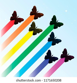 vector illustration butterfly rainbow
