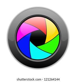 Vector illustration of button with colorful camera shutter image on it, isolated on white background