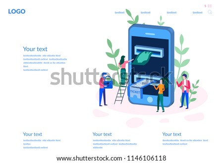 vector illustration buying tickets online e commerce stock vector