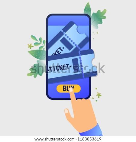 vector illustration buying tickets online booking stock vector