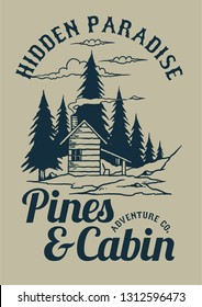 Vector illustration of a cabin in the pines forest with beautiful nature background mountain