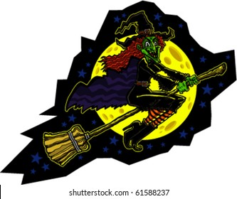 Vector illustration of a cackling cartoon witch flying on a broomstick with a moon and stars in the background.