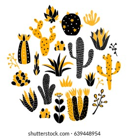 vector illustration of cacti arranged in a circle, home plants, succulents