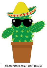 Vector illustration of a cactus in flower pot wearing Mexican sombrero hat and sunglasses isolated on white background.