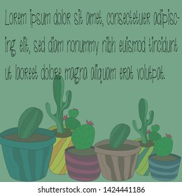 Vector illustration of cactus, lorem ipsum, background
