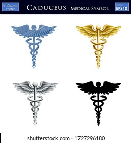 Vector illustration of Caduceus medical symbol in 4 different Styles.