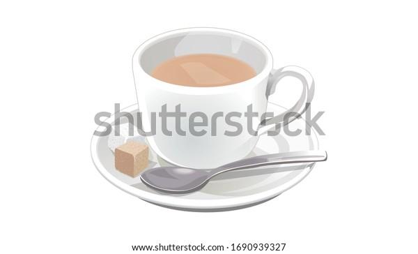 ベクターイラスト カフェオレイト、コーヒーとミルク