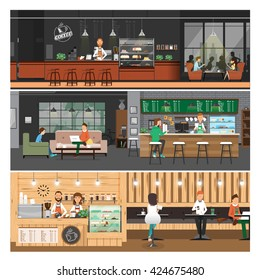 vector illustration of Cafe interior Banner,people inside ,coffee shop,counter bar,cartoon flat style