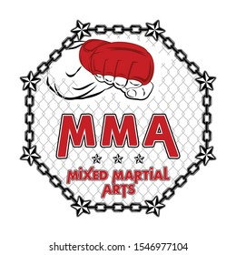 Vector illustration of a cage for mixed martial arts. MMA. Octagon. Champion of battle. Graphic sketch for poster, clothes, t shirt design, pins and stickers. Isolated outline, line, contour.