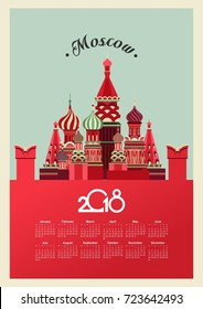 vector illustration of calendar 2018 retro image Russia Moscow Cathedral red square
