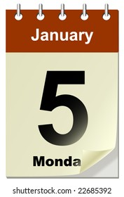 Vector illustration of calendar with bend page.