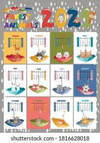 Vector illustration. Calendar for children for 2021. Calendar planner by months. The calendar features umbrellas, cute animals.