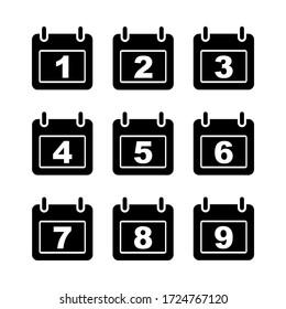 Vector illustration of calendar. Date in numeric form.