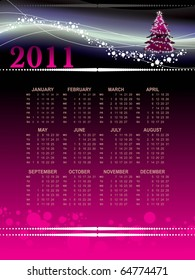 vector illustration of calender for new year 2011