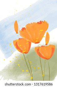 Vector illustration - Californian poppies. Abstract pattern - golden poppy.  Beautiful orange flowers and pollen splashes. Spring flowers, tulips.