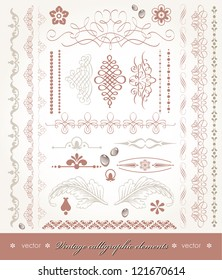 Vector illustration with calligraphic design elements and page decoration. Set for books decoration.