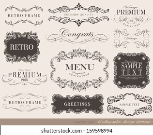 Vector illustration of calligraphic element/ old style/ retro vintage