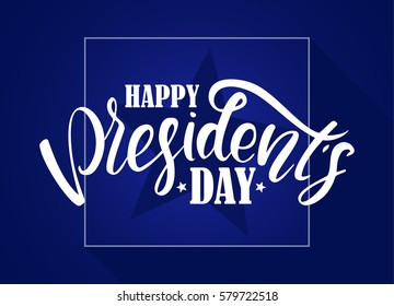 Vector illustration: Calligraphic lettering composition of Happy Presidents Day with stars on blue background.