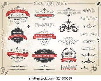 Vector illustration of calligraphic vintage label ornament divider vector design elements and page decoration./ Vintage Label Ornament Divider Vector/Vintage Label Ornament Divider Vector