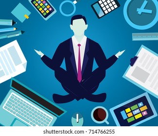 Vector illustration. Calm relax spiritual zen balance in business concept. Businessman doing yoga trying to keep calm under stress pressure problem and find solution to reach success