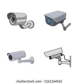 Vector illustration of camcorder and camera icon. Set of camcorder and dashboard vector icon for stock.