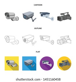 Vector illustration of camcorder and camera logo. Set of camcorder and dashboard stock symbol for web.