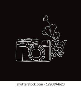 Vector Illustration of Camera Photography in Black and White Background and Line Art Design