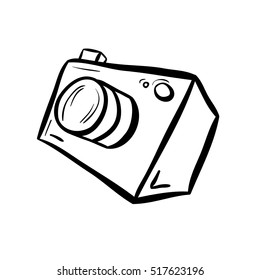 Vector illustration of a camera. Take a photo, take a picture. Simple line style drawing. Black on white background.