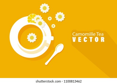 Vector illustration of a camomile tea with blossoms and spoon. Flat design with copy space