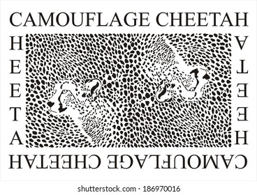vector illustration of Camouflage Cheetah and heads