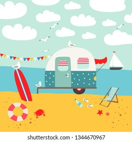 Vector illustration with camper trailer and surfboard on the beach. Summer beach illustration.