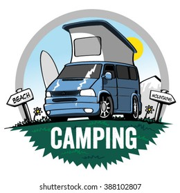 Vector illustration of camper van.