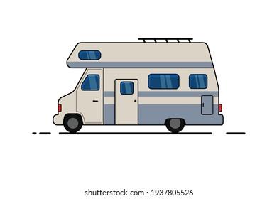 Vector illustration of a camper van.Travel mobile homes or caravan.Vector illustration.