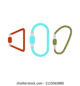 Vector illustration of camping equipment. Carabiner icon card. Isolated on white background. Cartoon and flat style.